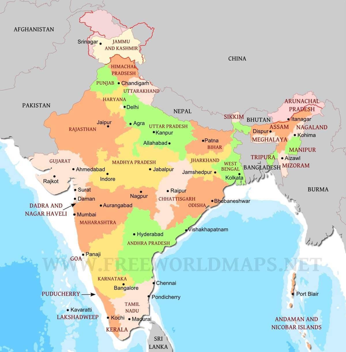Cartina India Nepal.India Del Nord Mappa Politica Cartina Politica Dell India Del