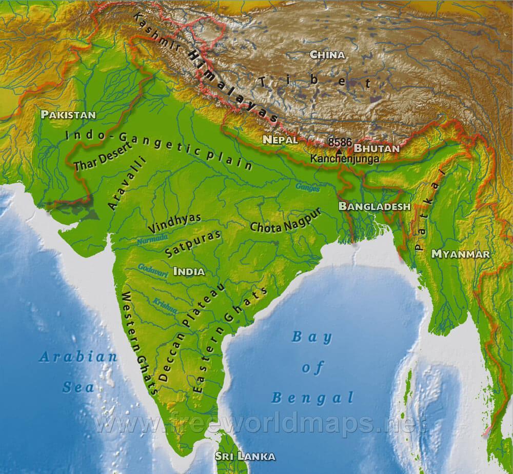 Cartina India Hd.India Mappa Fisica Hd Mappa Fisica Dell India Hd Sud Est