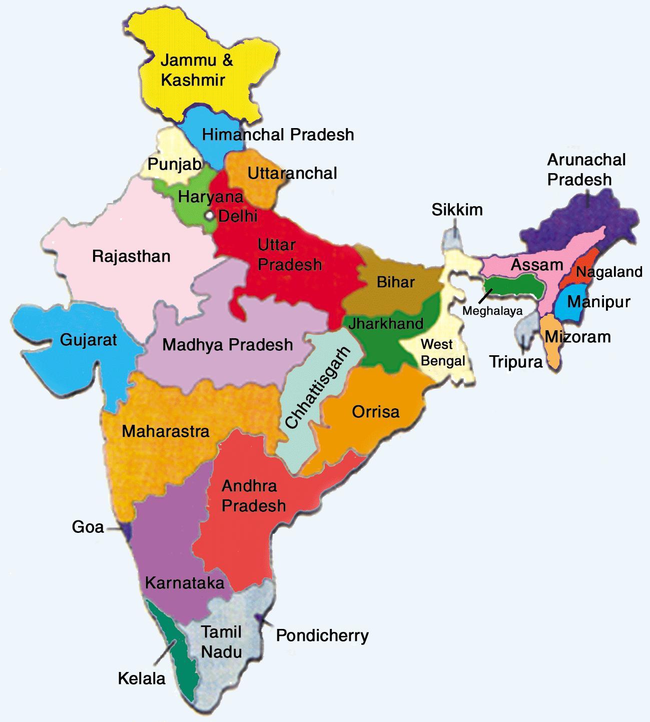 India Meridionale Cartina Geografica.India Mappa Geografica Con Gli Stati Mappa Geografica Dell India Con Gli Stati L Asia Del Sud Asia