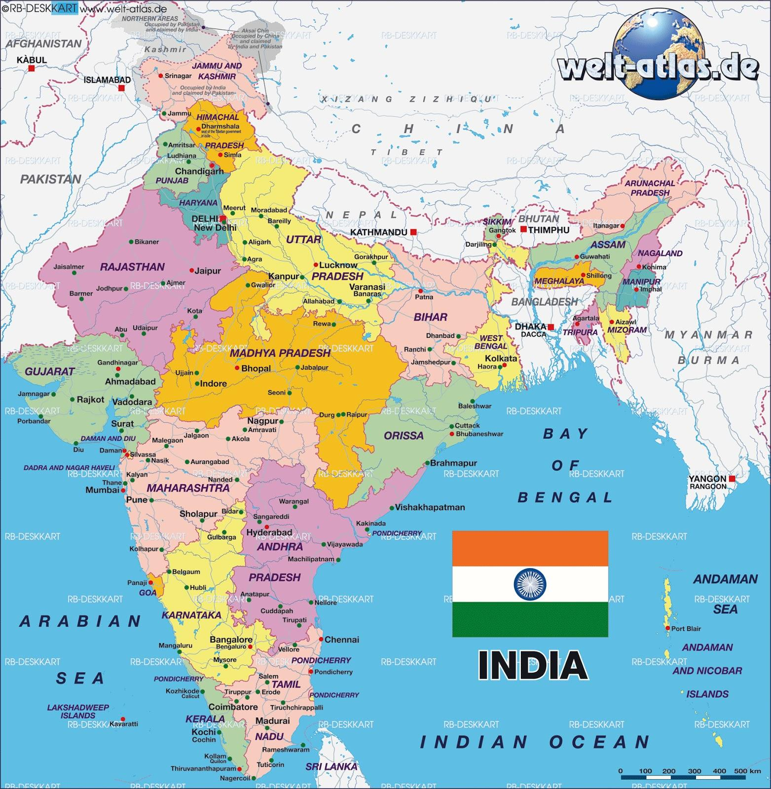 Cartina Geografica Fisica Dell India.India Politico E Mappa Fisica Politica E Mappa Fisica Dell India Asia Del Sud Asia
