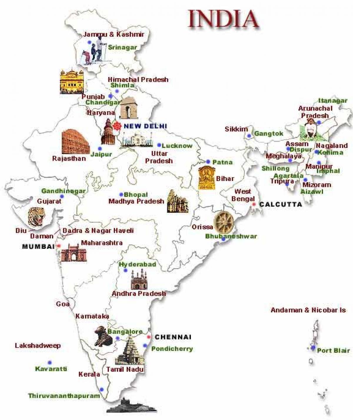 Cartina Dell India Del Nord.India Del Nord Localita Turistiche Sulla Mappa Mappa India Del Nord Localita Turistiche Sud Est Asiatico Asia