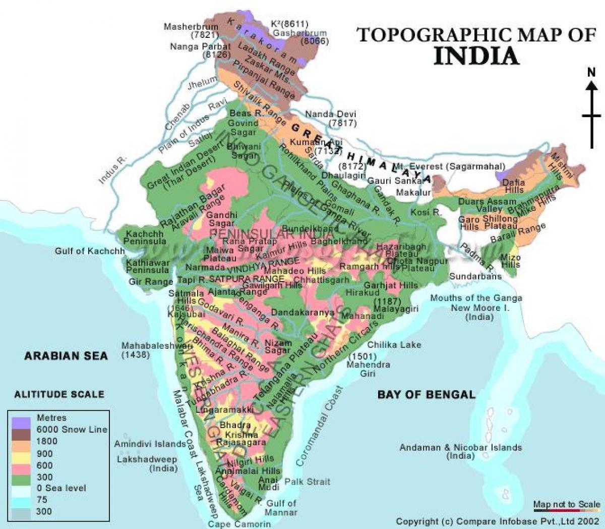 Cartina India Del Nord.India Elevation Map Mappa Altimetrica Dell India Asia Del Sud Asia
