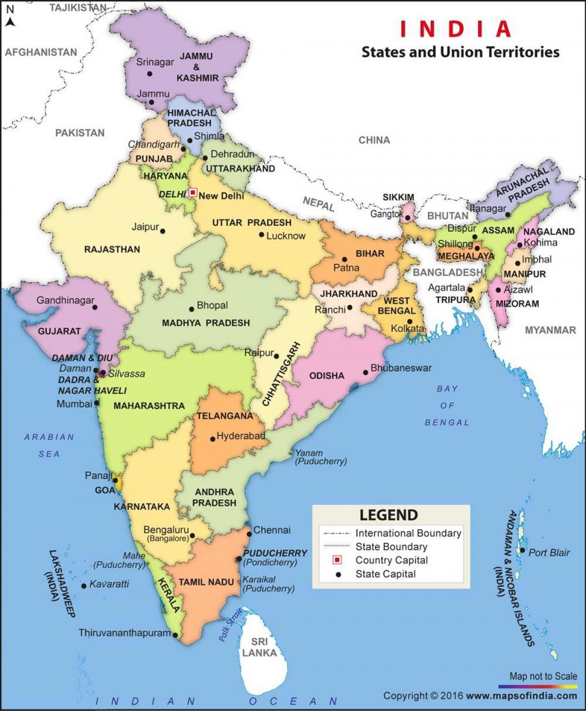 Cartina India In Italiano.India Stati Politici Mappa India Mappa Politica Di Stati E