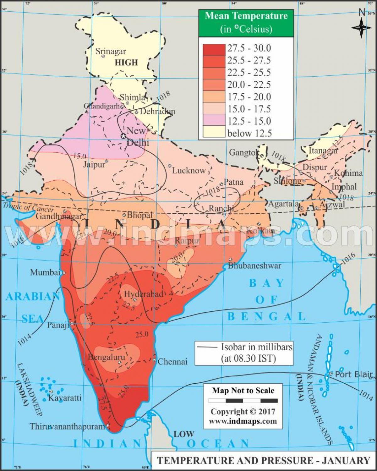 Cartina India Del Nord.India Di Temperatura Temperatura Mappa India Asia Del Sud Asia