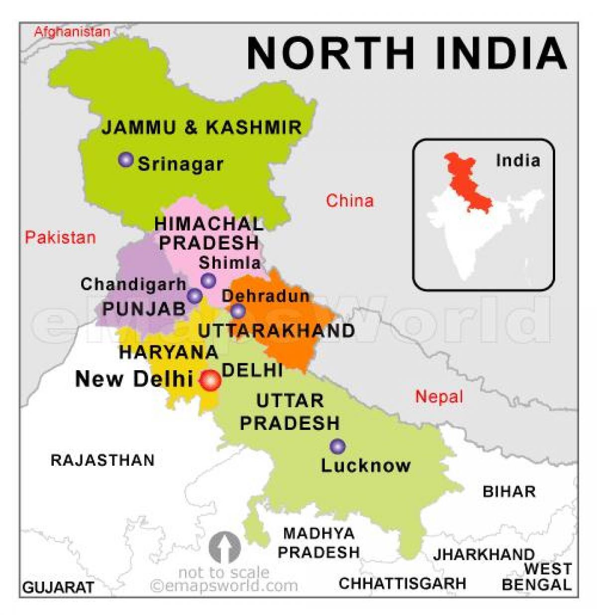 Cartina Dell India Del Nord.Mappa Del Nord Stati Dell India India Del Nord Mappa Con Gli Stati L Asia Del Sud Asia