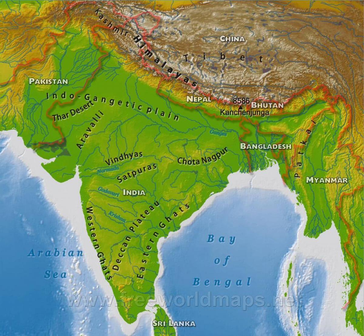 India Geografica Cartina.Mappa Di India Geografico India Mappa Geografica Sud Est Asiatico Asia