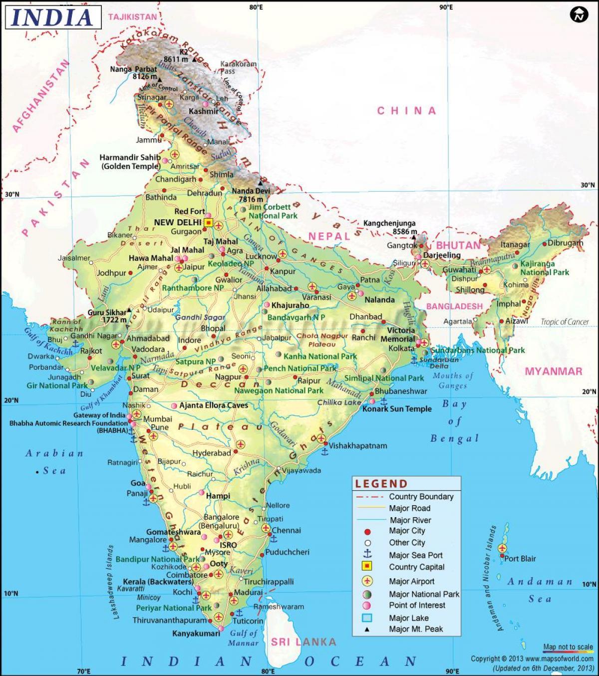 India Fisica Cartina.Mappa Fisica Dell India Con Gli Stati India Mappa Fisica Con Gli Stati L Asia Del Sud Asia