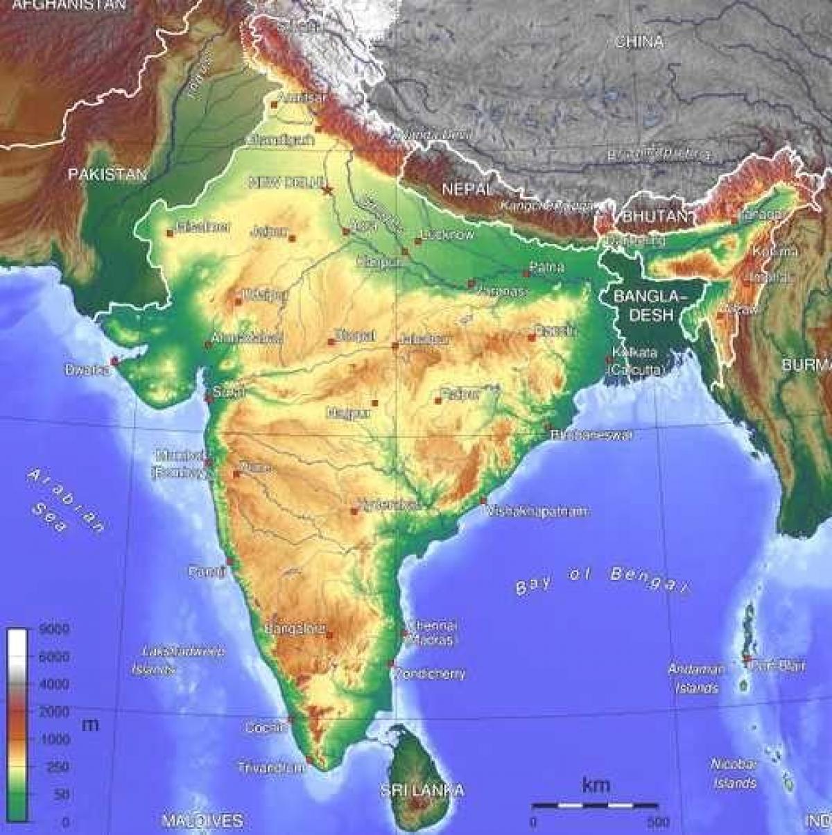 Cartina Fisica Dell India.Mappa Fisica Dell India Per I Bambini India Mappa Fisica Per I Bambini L Asia Del Sud Asia