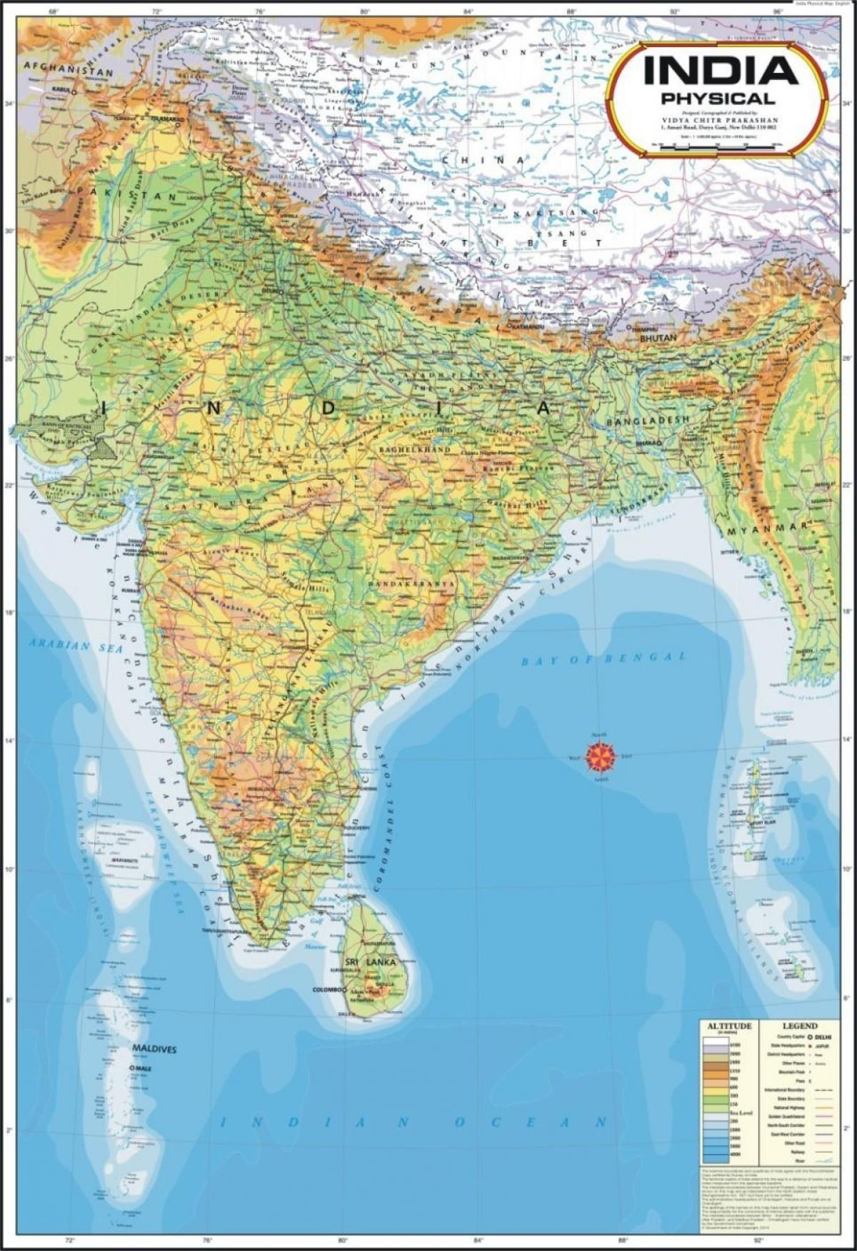 India Fisica Cartina.Mappa Fisica Dell India India Mappa Fisica Sud Est Asiatico Asia