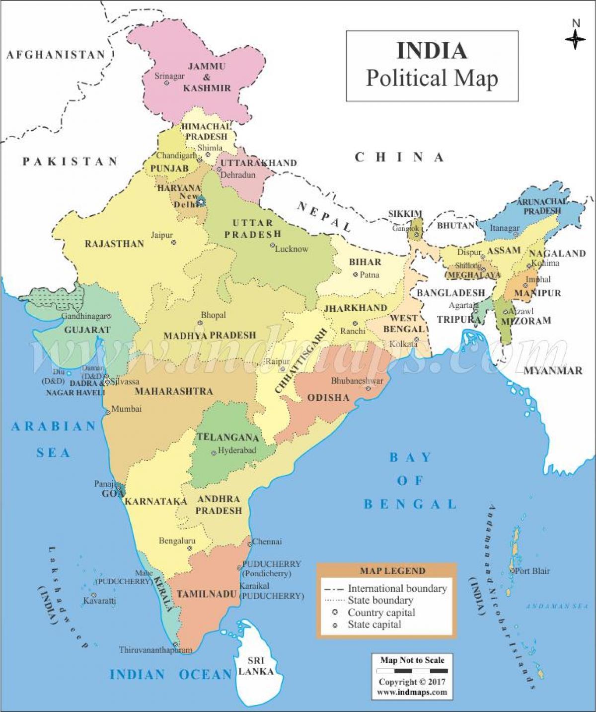 Cartina Dell India Politica.Mappa Politica Dell India Mappa Di India Politico L Asia Del Sud Asia